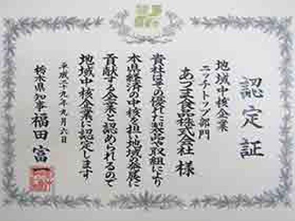 栃木県地域中核企業ニッチトップ部門