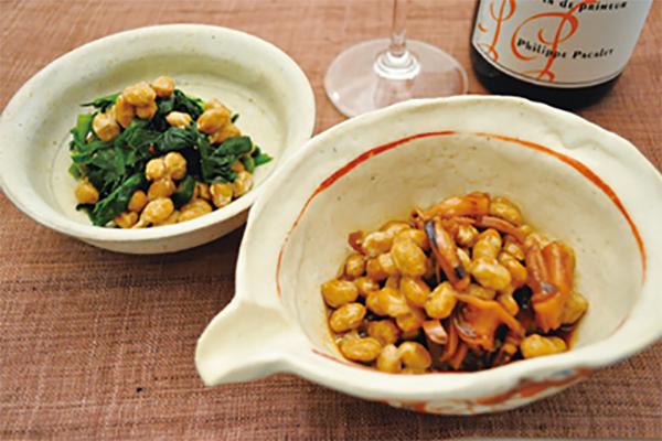 秋の夜長のおつまみ納豆2種