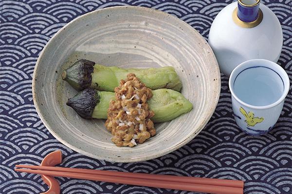 旬の美味!焼きなす味噌納豆ソース